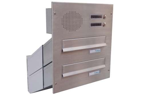 DOLS 2x poštovní schránka D-041 do sloupku s el. + čelní deska s 2x zvonkem a HM URMET- NEREZ - DOLS 2x poštovní schránka D-041 do sloupku s el. + čelní deska s 2x zvonkem a HM URMET NEREZ