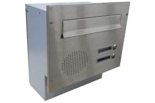 DOLS Poštovní schránka F-04 do sloupku s el. + čelní deska s 2x zvonkem a přípravou pro HM - NEREZ - DOLS Poštovní schránka F-04 do sloupku s el. + čelní deska s 2x zvonkem a přípravou pro HM NEREZ