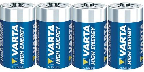 Varta Alkalická baterie High Energy, typ C, sada 4 ks - Varta Alkalické baterie High Energy, typ C, pro elektronické trezorové zámky, 4ks